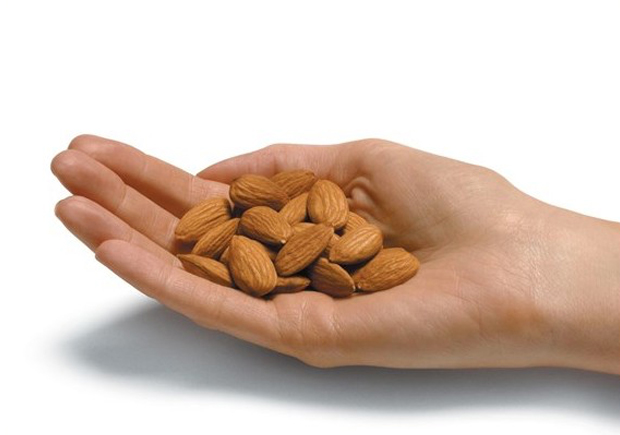 A handful of almonds - tasty, healthy snacking