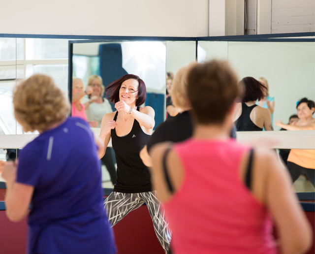 taking part in an exercise class